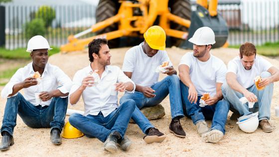 Mittagspause Bauarbeiter